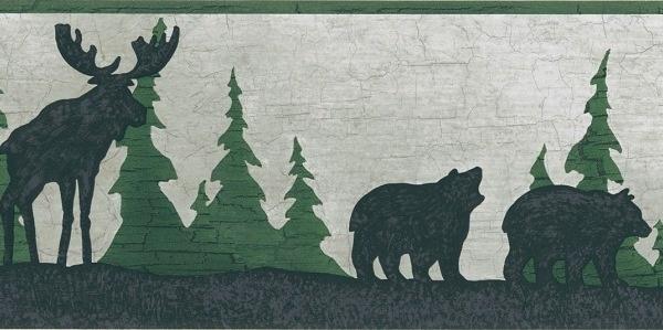 Moose Bear Pine Tree Silhouettes Wallpaper Border Outdoor decor 600x299