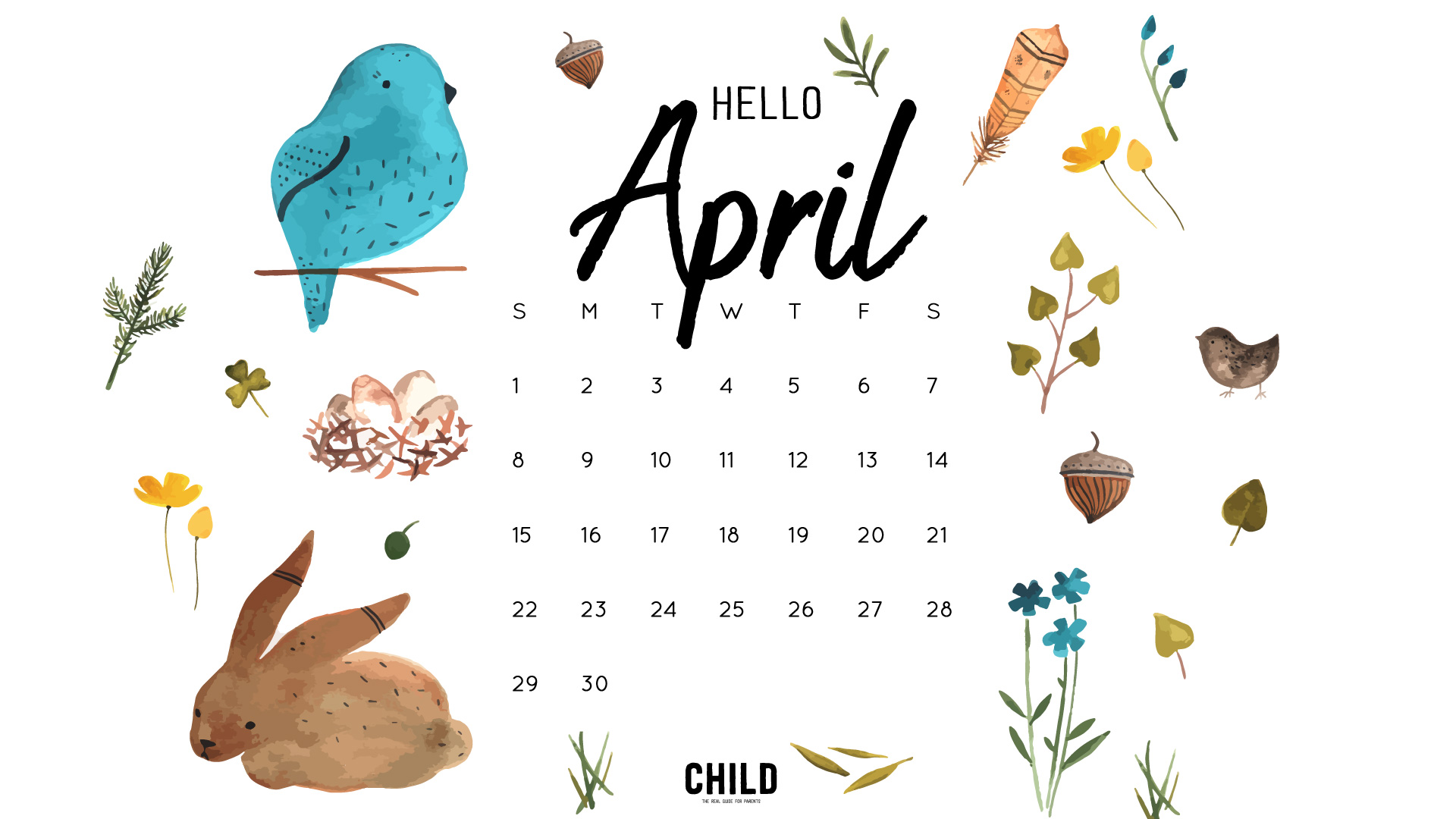 April Calendar Wallpaper 1920x1080
