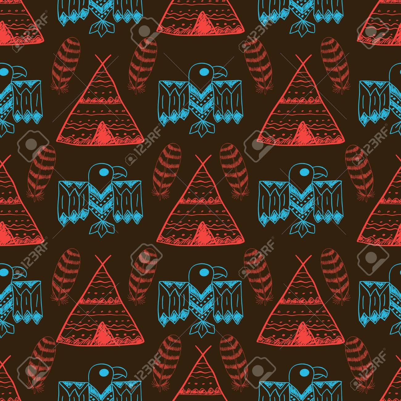 Native American Seamless Pattern With Different Symbols Arrows 1300x1300