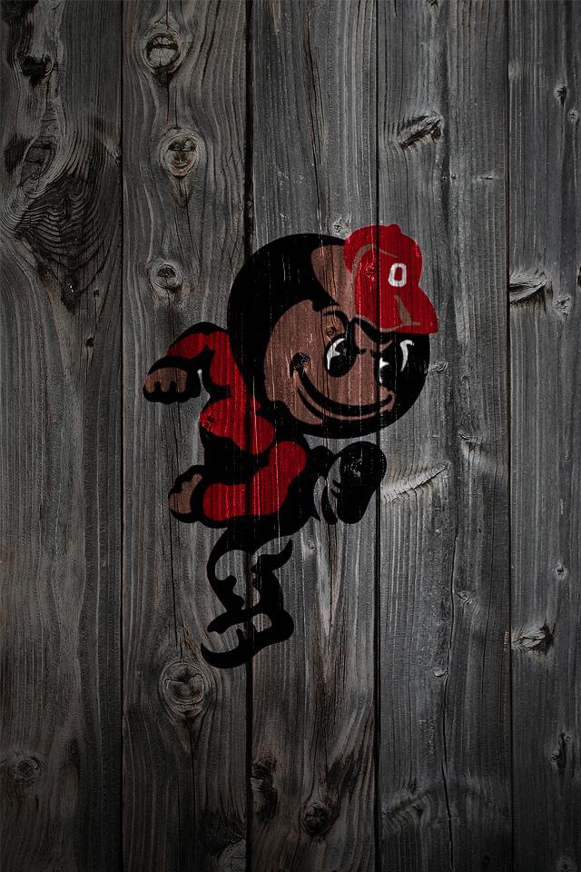 Ohio State Buckeyes Alternate Logo 2 Wood iPhone 4 Background   a 640x960