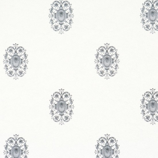 Classic Wallpaper White and Silver Sample traditional wallpaper 550x550