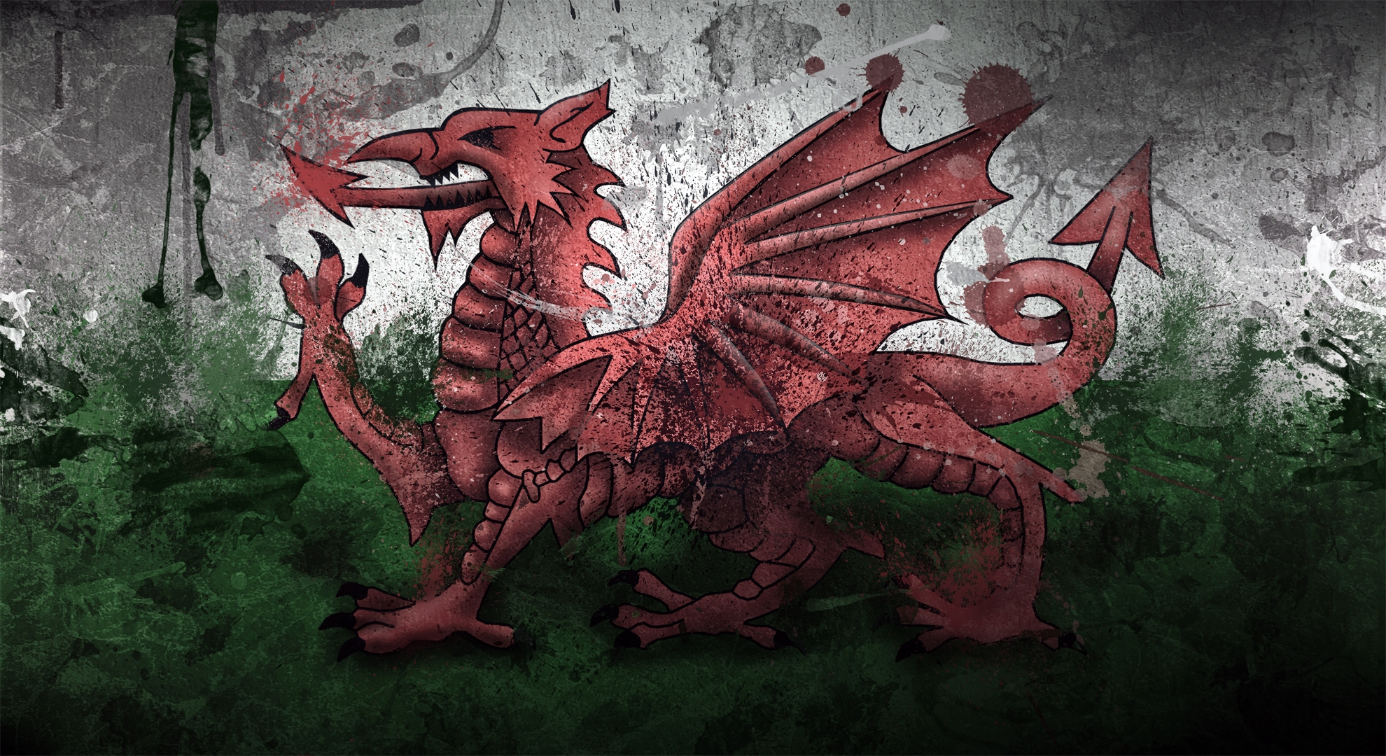 Wales Dragon Symbol Flag Paints Stains Texture   Stock Photos 1980x1080