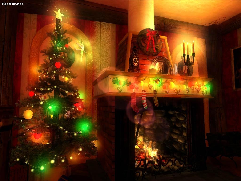 Christmas 3d Fireplace HD Wallpaper 9232 Wallpaper 1024x768