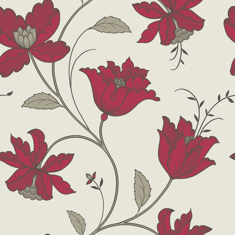 Fleur Red A Stunning Floral Wallpaper in White Red Sage 800x800