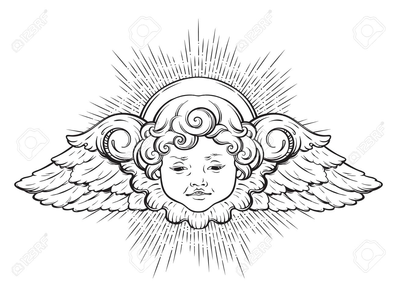 Cherub Cute Winged Curly Smiling Baby Boy Angel With Rays Of 1300x975