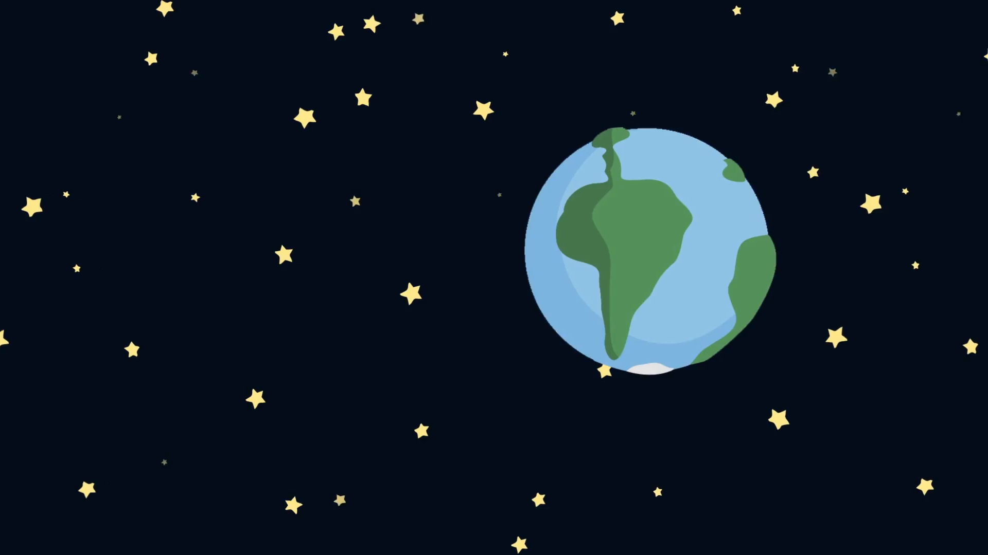 Cartoon Earth from Space with Starry Night Motion Background 1920x1080
