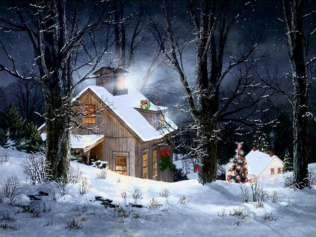 Christmas Snow Scene Wallpapers 1024x768