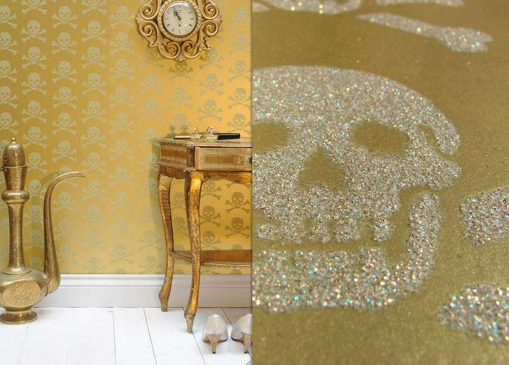 Skull Gold Glitter Wallpaper Glitter is TOO a Color Pinterest 736x528