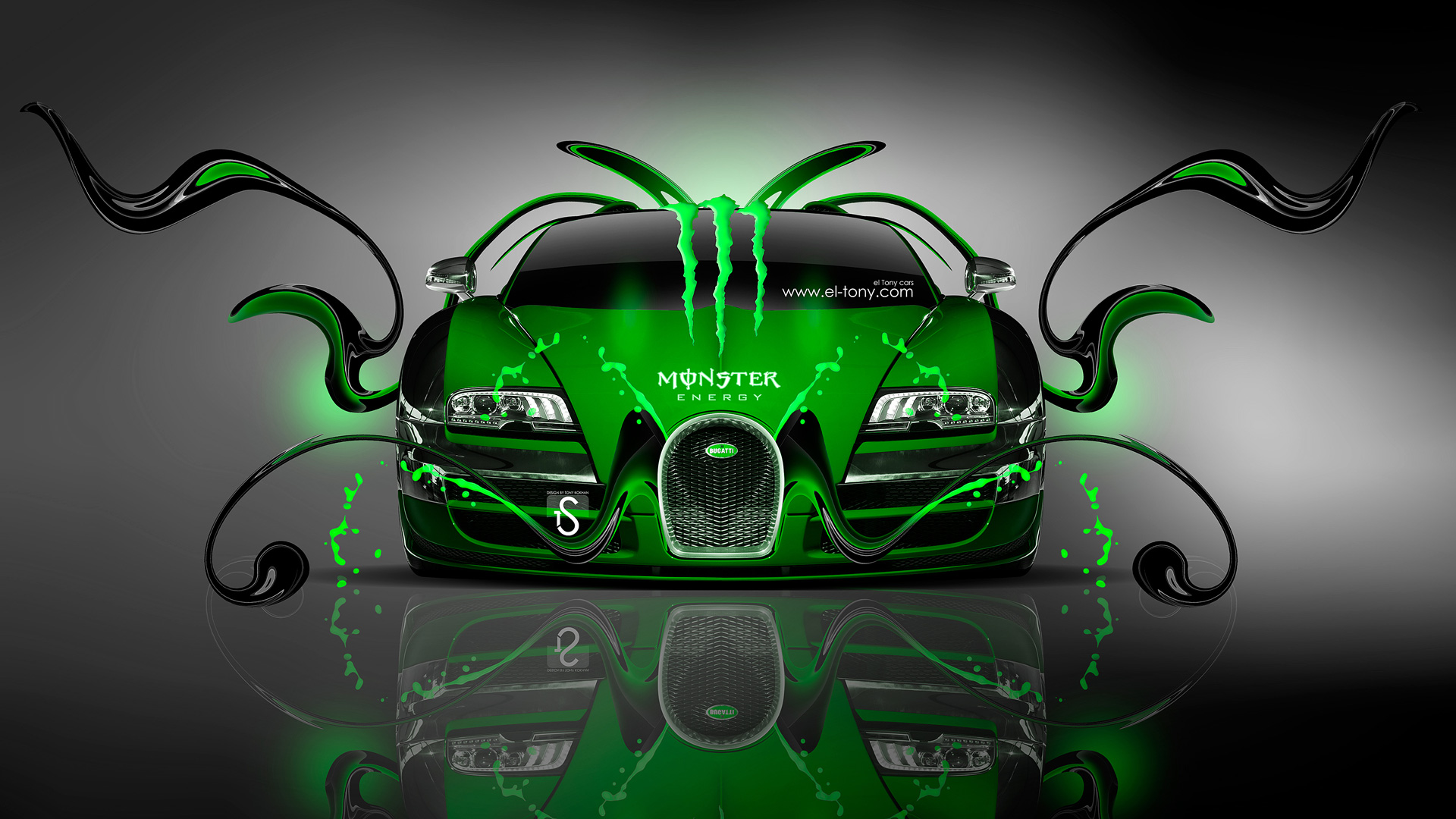 Monster Energy Bugatti Veyron Front Green Plastic Car 2014 Design By  1920x1080