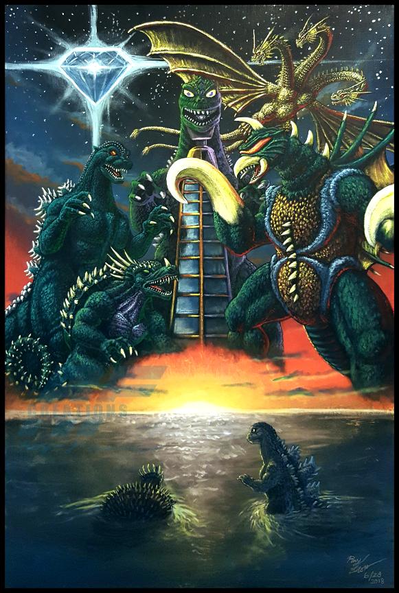 The Toybox Painting   GODZILLA VS GIGAN 1972 by AlmightyRayzilla 581x864
