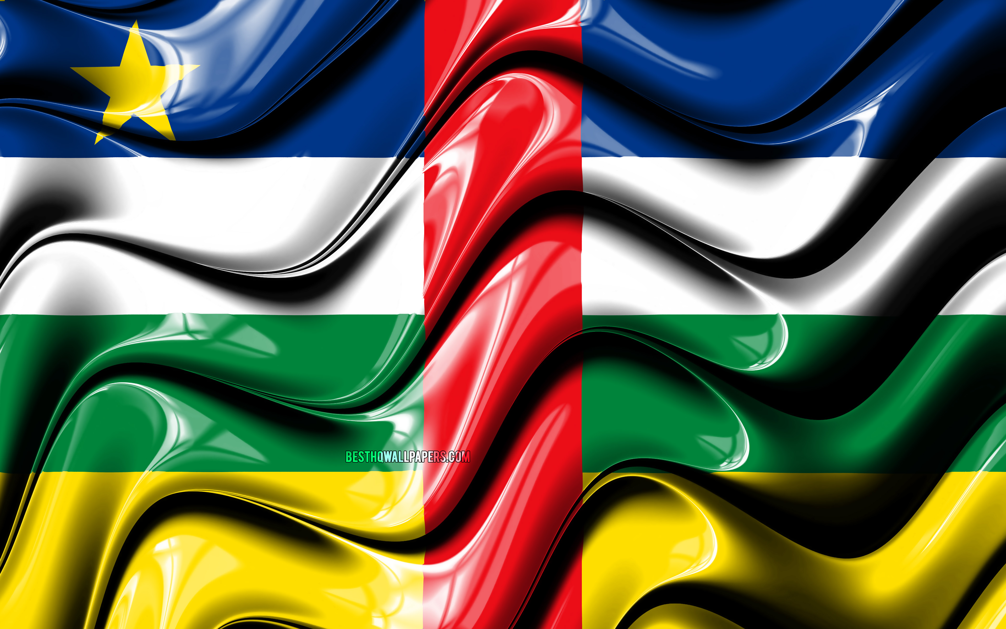 Download wallpapers Central African Republic flag 4k Africa 3840x2400