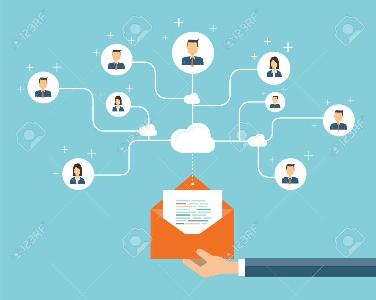 Business Email Marketing Connection On People Backgroundsocial 1300x1040