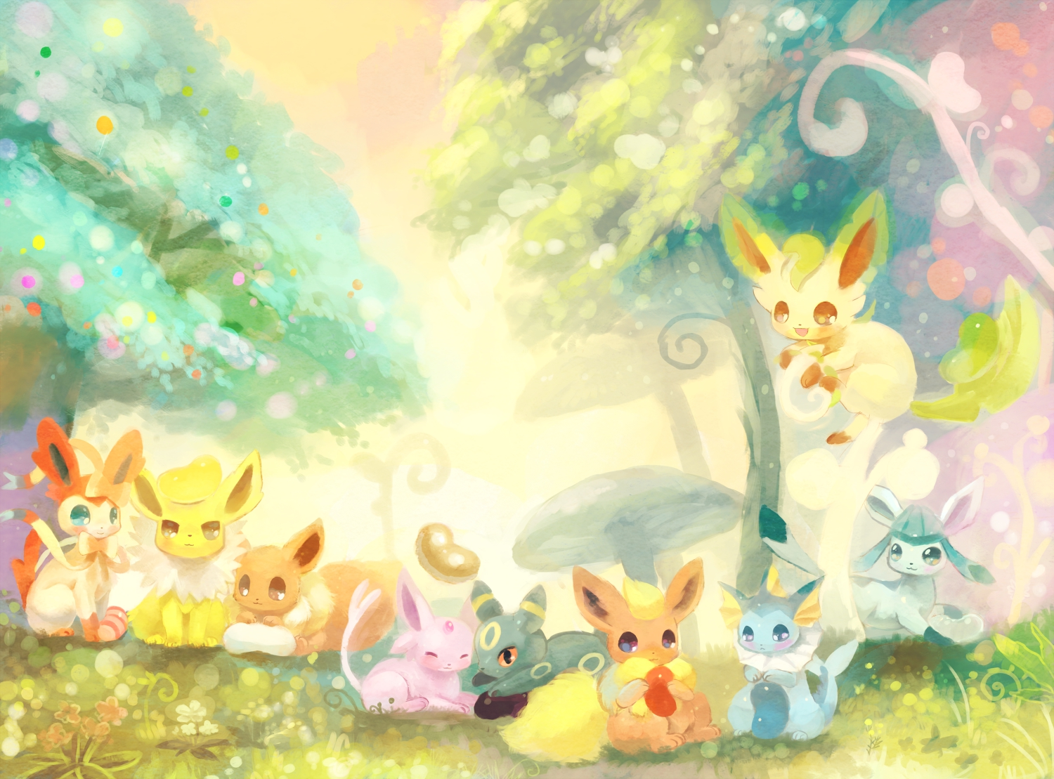 eevee espeon flareon ginger ale huwahuwaryuo glaceon jolteon 1500x1109