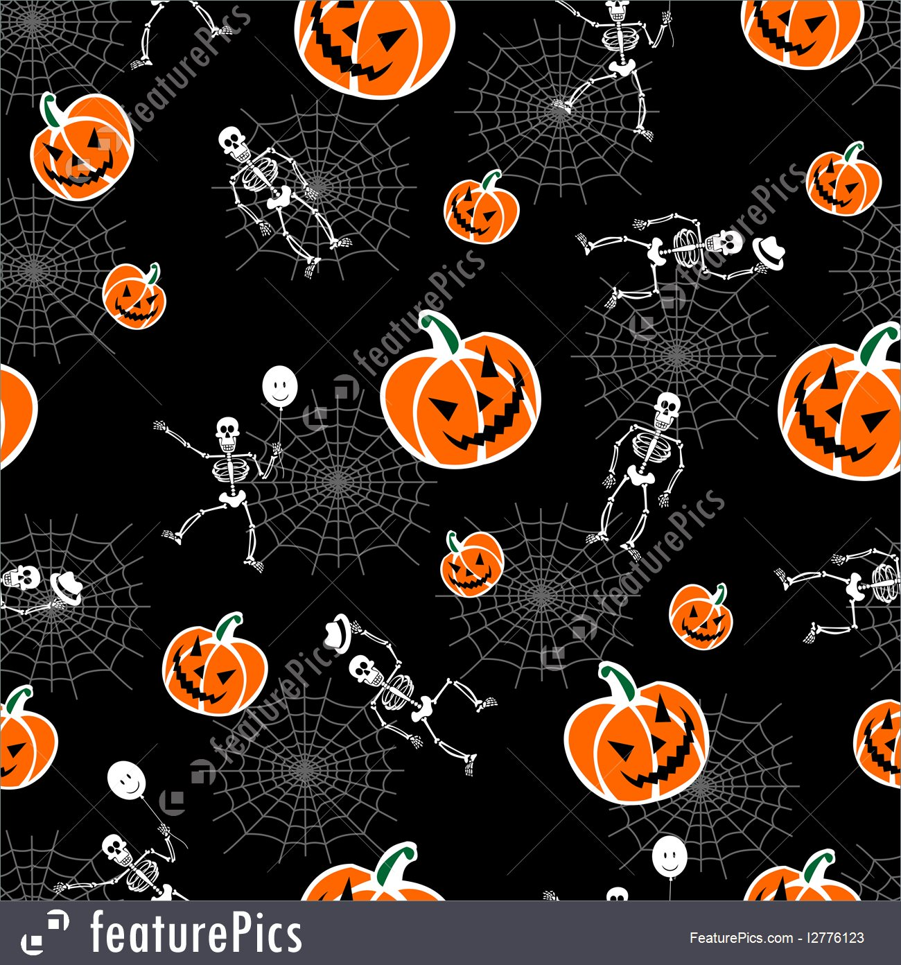 Halloween Pumpkins And Skeleton Background 1300x1392