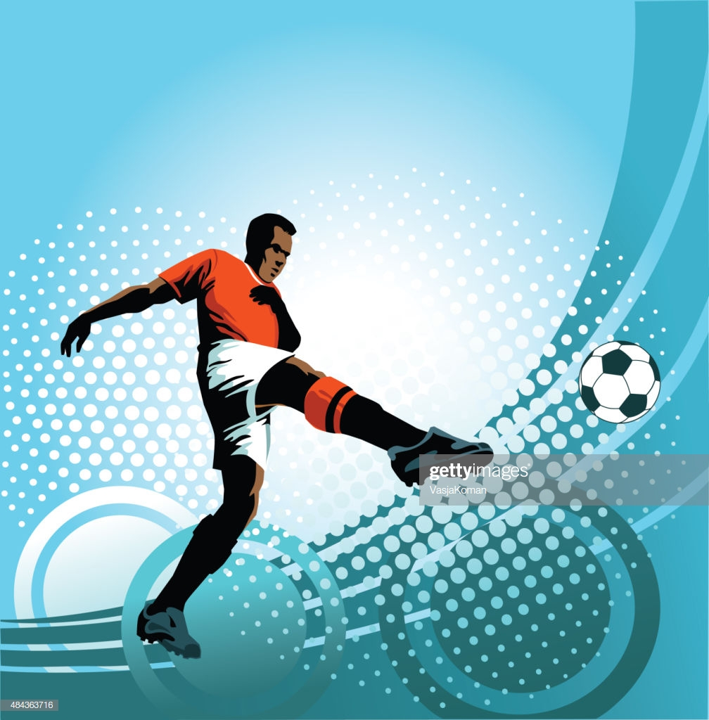 Soccer Player Strikes Perfect Volley On Blue Background High Res 1008x1024