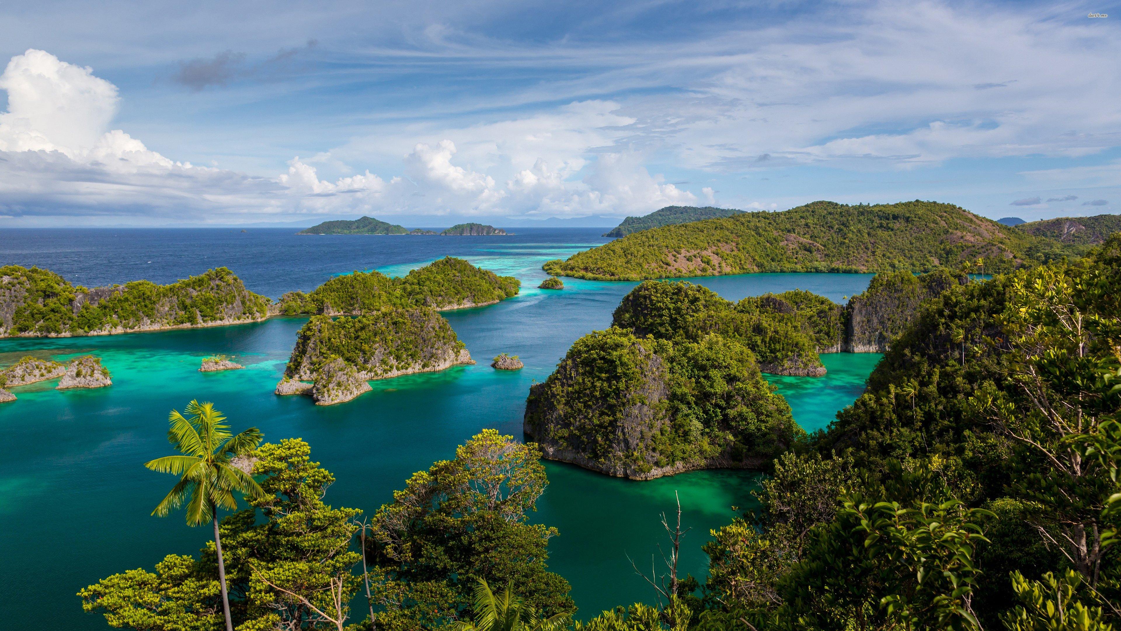 Raja Ampat Indonesia exotic tropics Islands ocean palm 3840x2160
