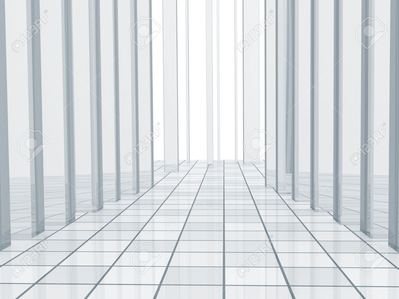Abstract Blue Background With Columns And A Tiled Floor Stock 1300x975