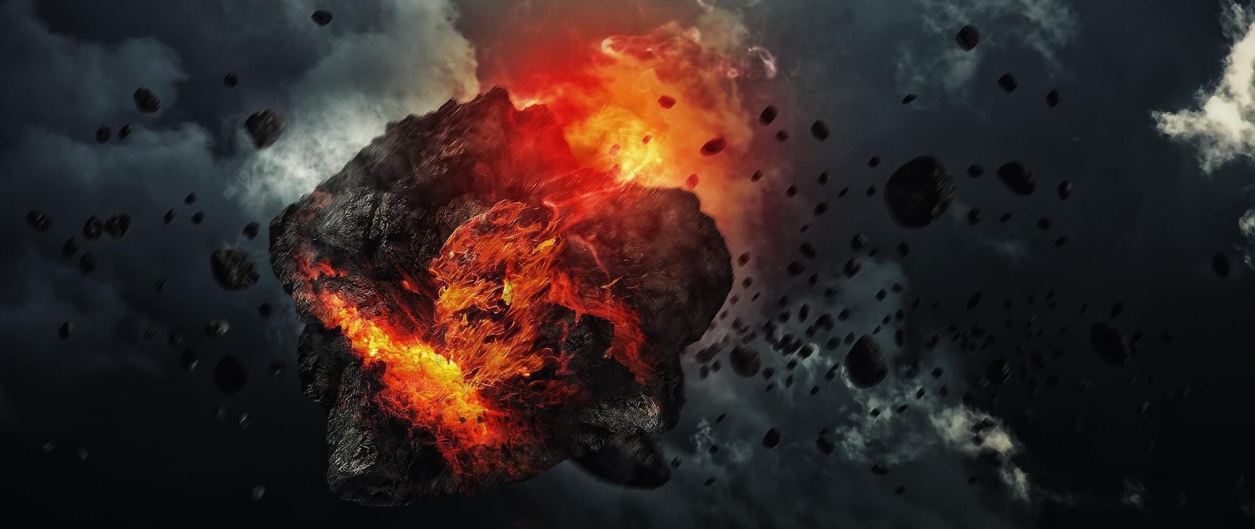 Wallpaper 2560x1080 meteorite speed space debris smoke 2560x1080 2560x1080