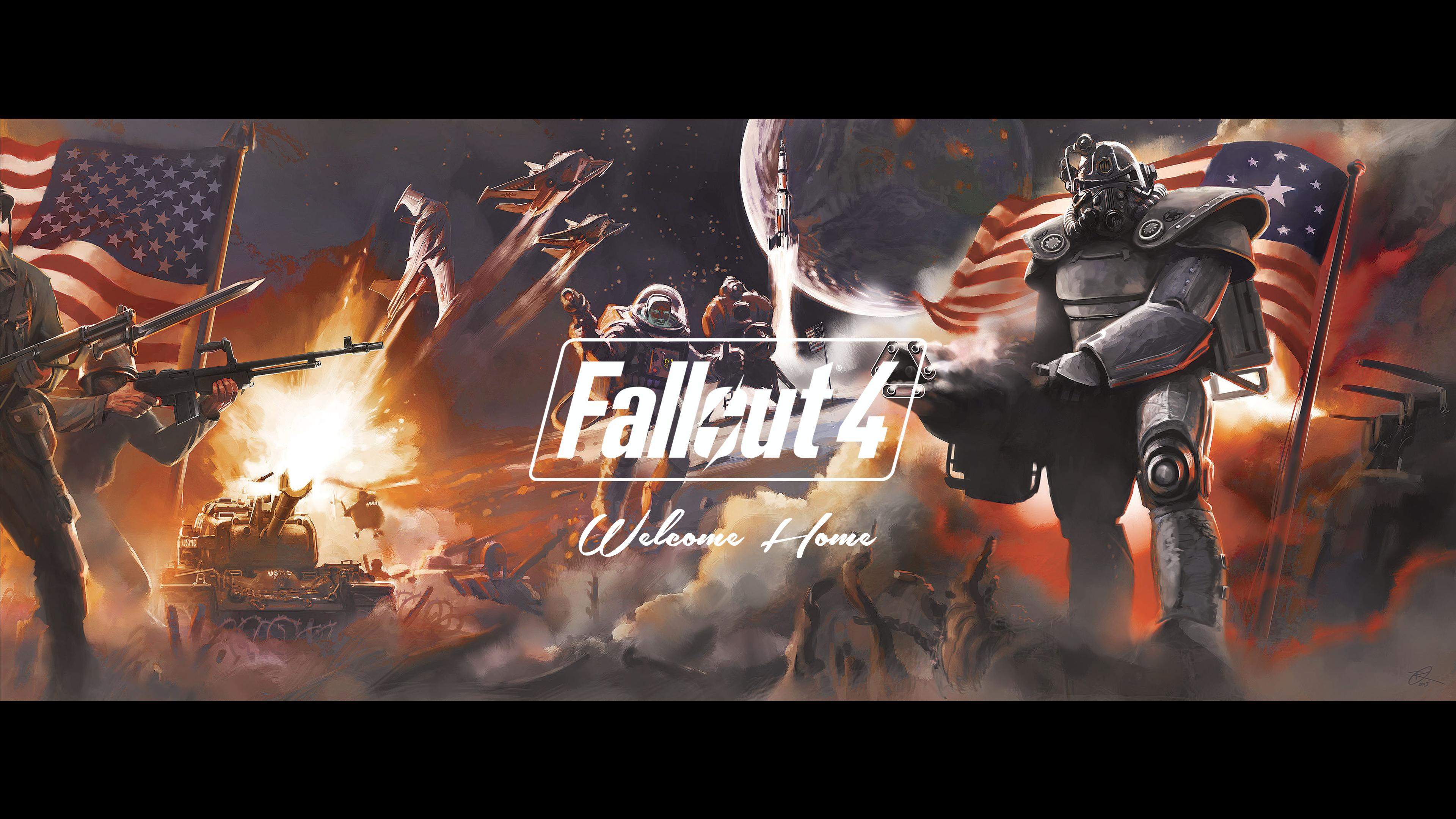 Fallout 4 dual screen wallpaper wallpapersafari for Fallout 4 mural
