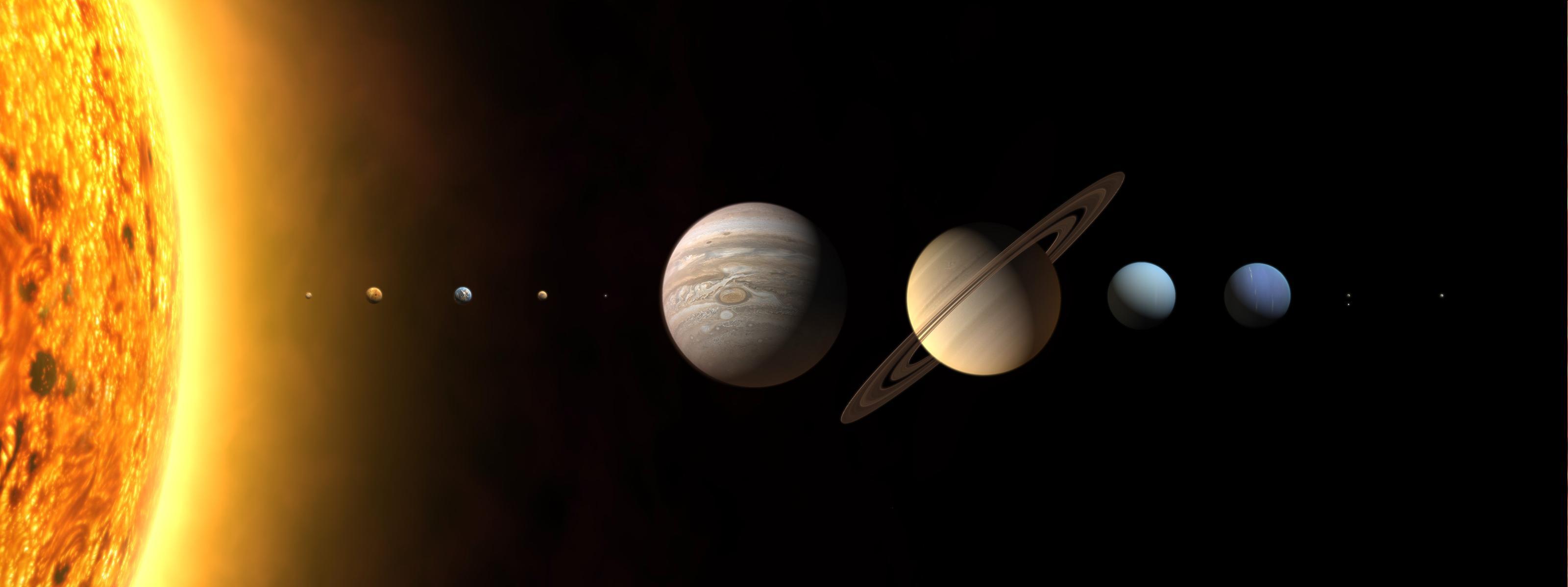 Dual Screen sci fi planets solar system sun moon science wallpaper 3200x1200