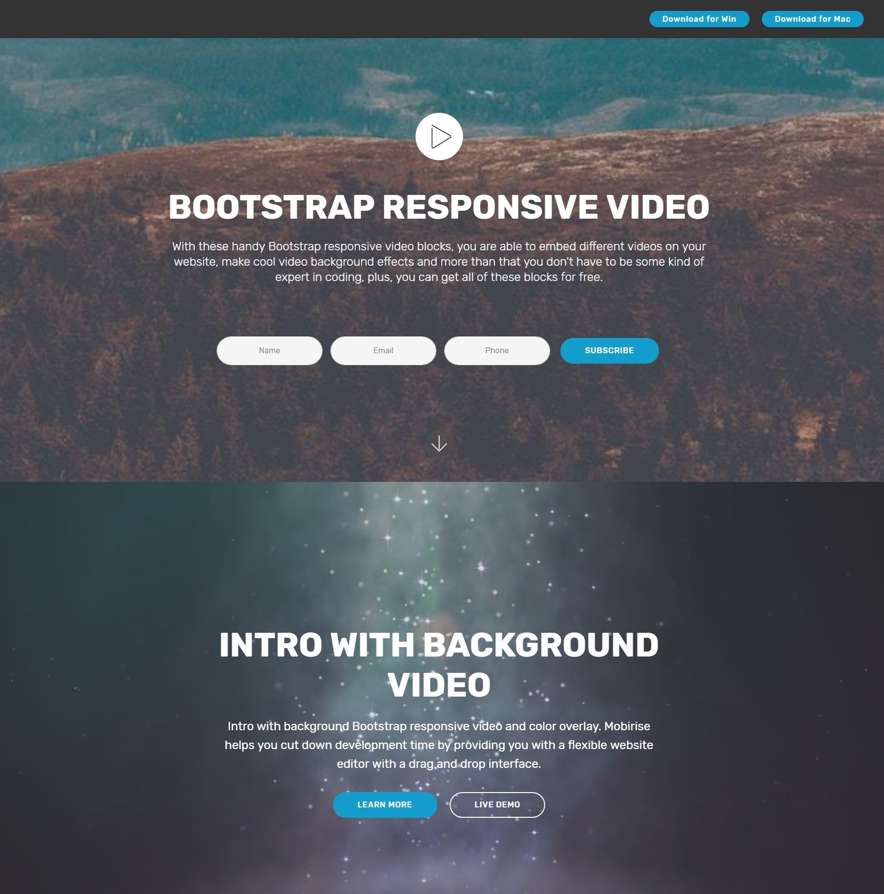 Impressive JavaScript Bootstrap Carousel Video Backgrounds and 1787x1807