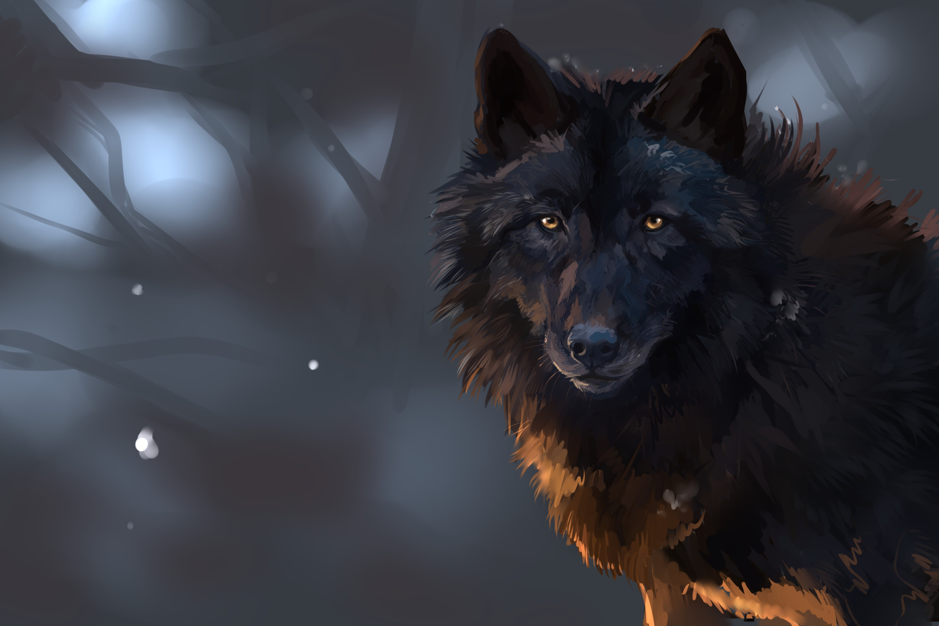 Wallpaper wolf eyes branches wood wallpapers painting   download 3000x2000