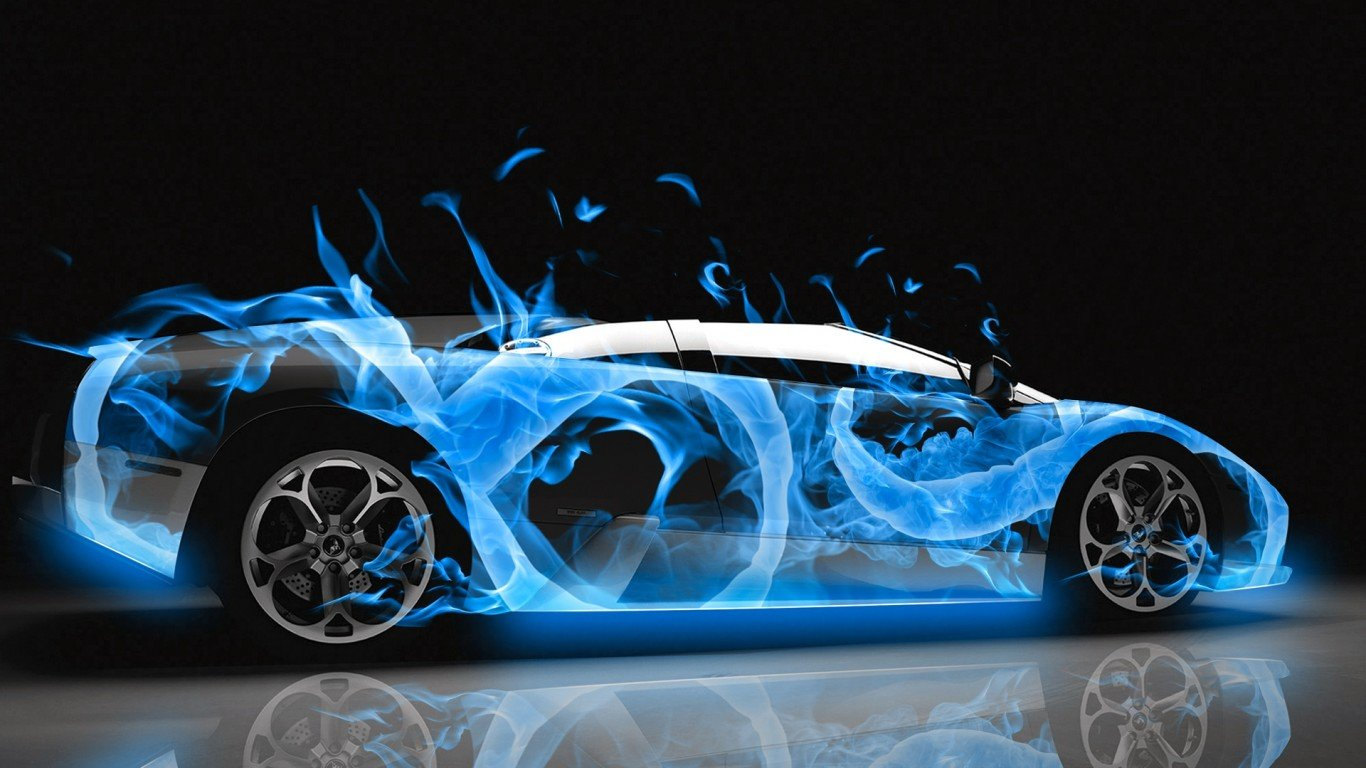Fire Abstract Shop Car Fantasy Car   1366x768 iWallHD   Wallpaper HD 1366x768