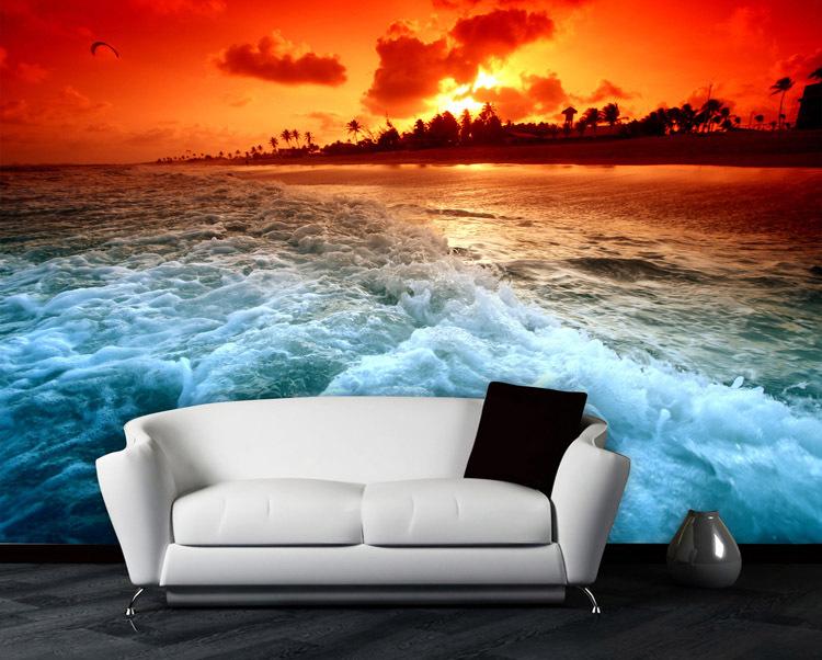 Large Murals 3 D Scenery Natural Beach Mural Wallpaper Sitting Room 750x602