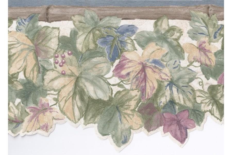 Blue Bamboo Grape Leaves Wallpaper Border 900x600