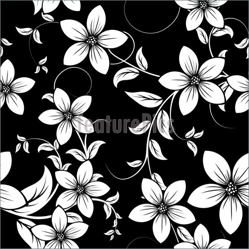 Black Flower Pattern Stock Images: Black Floral Print Wallpaper