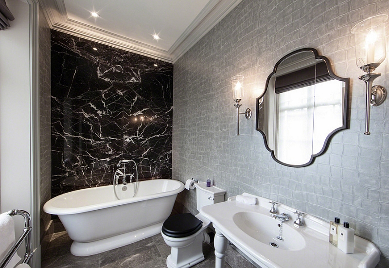 Black And Silver Bathroom.Free Download Luxe Silver Wallpaper In The Black And White