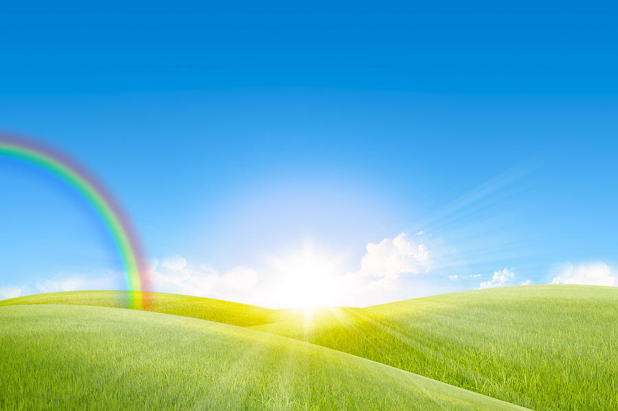 Agriculture Photograph - Grassland In The Sunny Day With Rainbow by ...