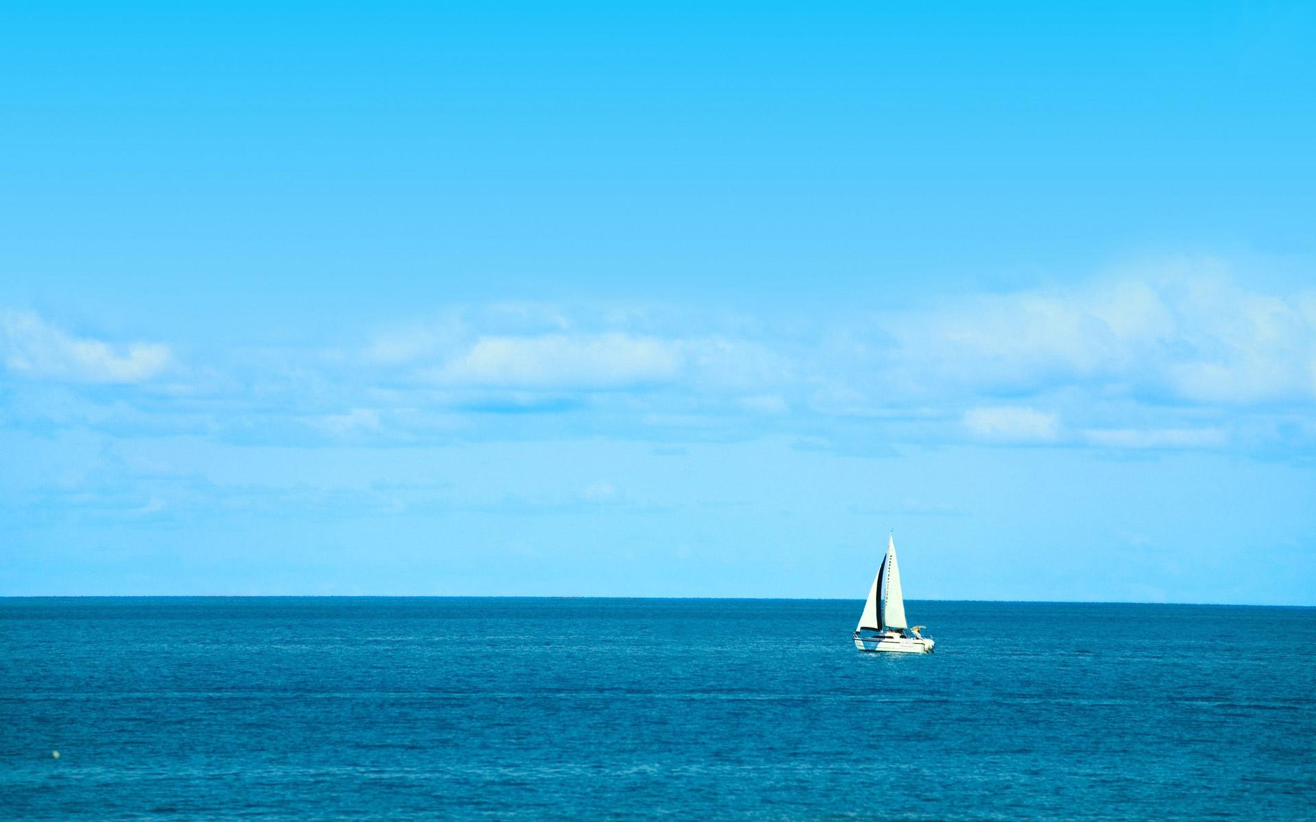 White Sailboat on Blue Ocean Beach Background   Beach 1920x1200