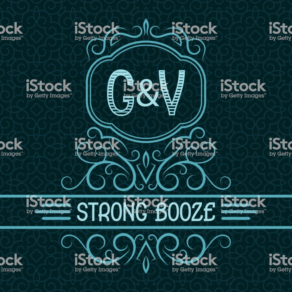 Strong Booze Label Design Template Patterned Vintage Monogram With 1024x1024