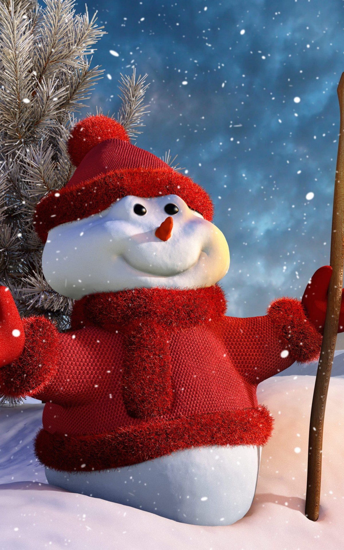 Christmas Snowman HD wallpaper for Kindle Fire HDX   HDwallpapersnet 1200x1920