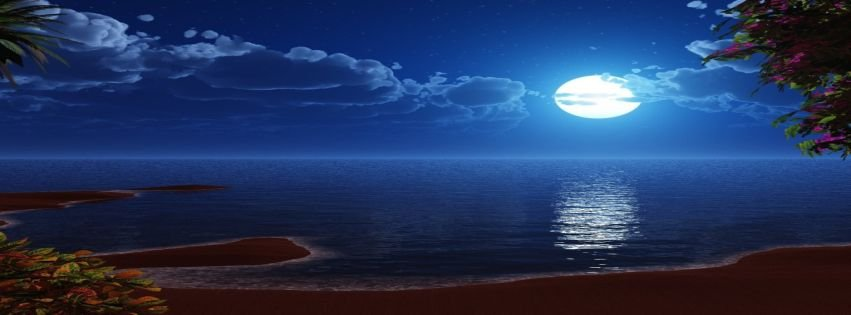 Beach At Night Wallpaper Facebook Covers   myFBCovers 851x315