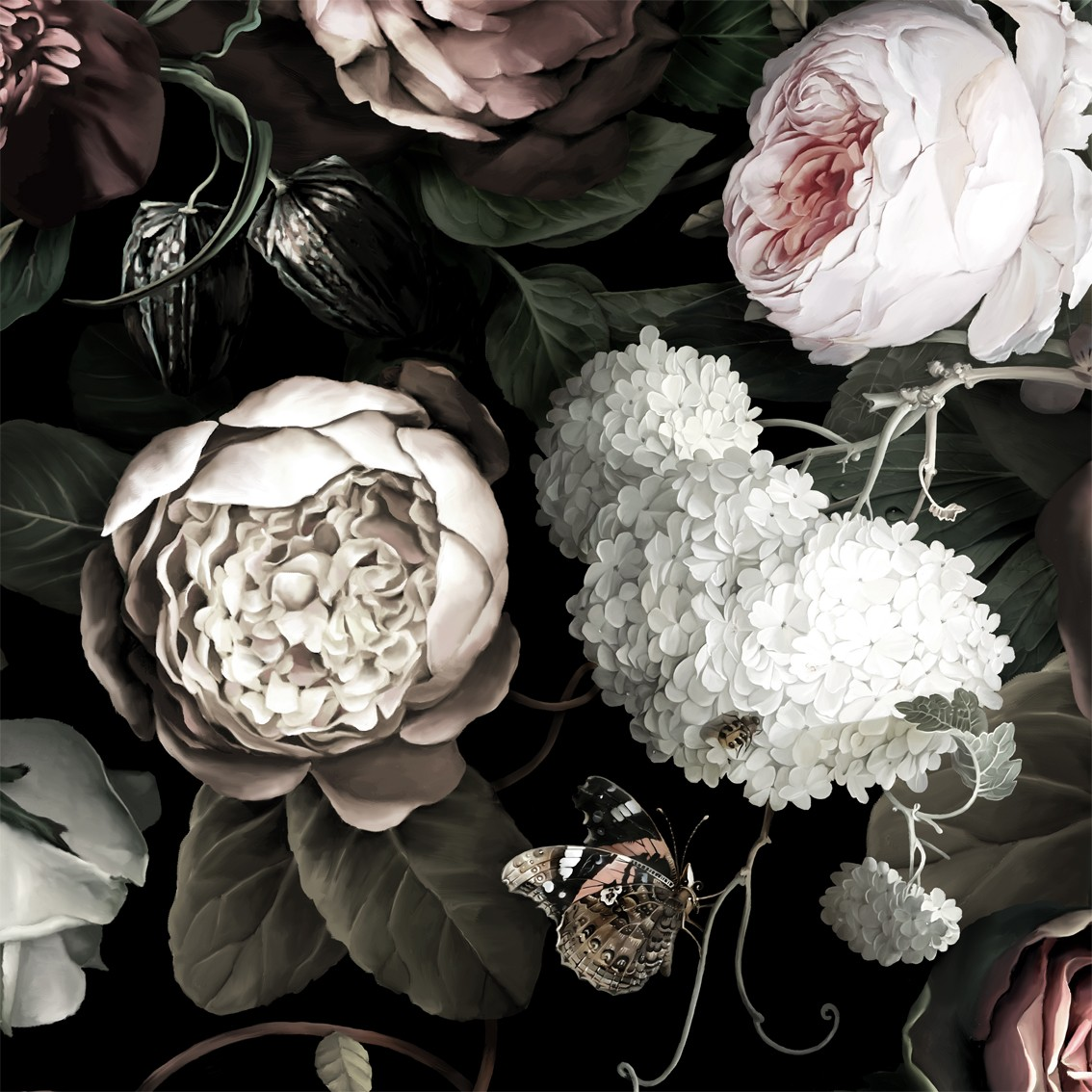 49 Ellie Cashman Dark Floral Wallpaper On Wallpapersafari
