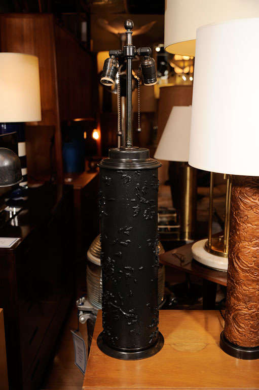 Vintage Ebonized Wood Wallpaper Roll Table Lamp For Sale at 1stdibs 511x768