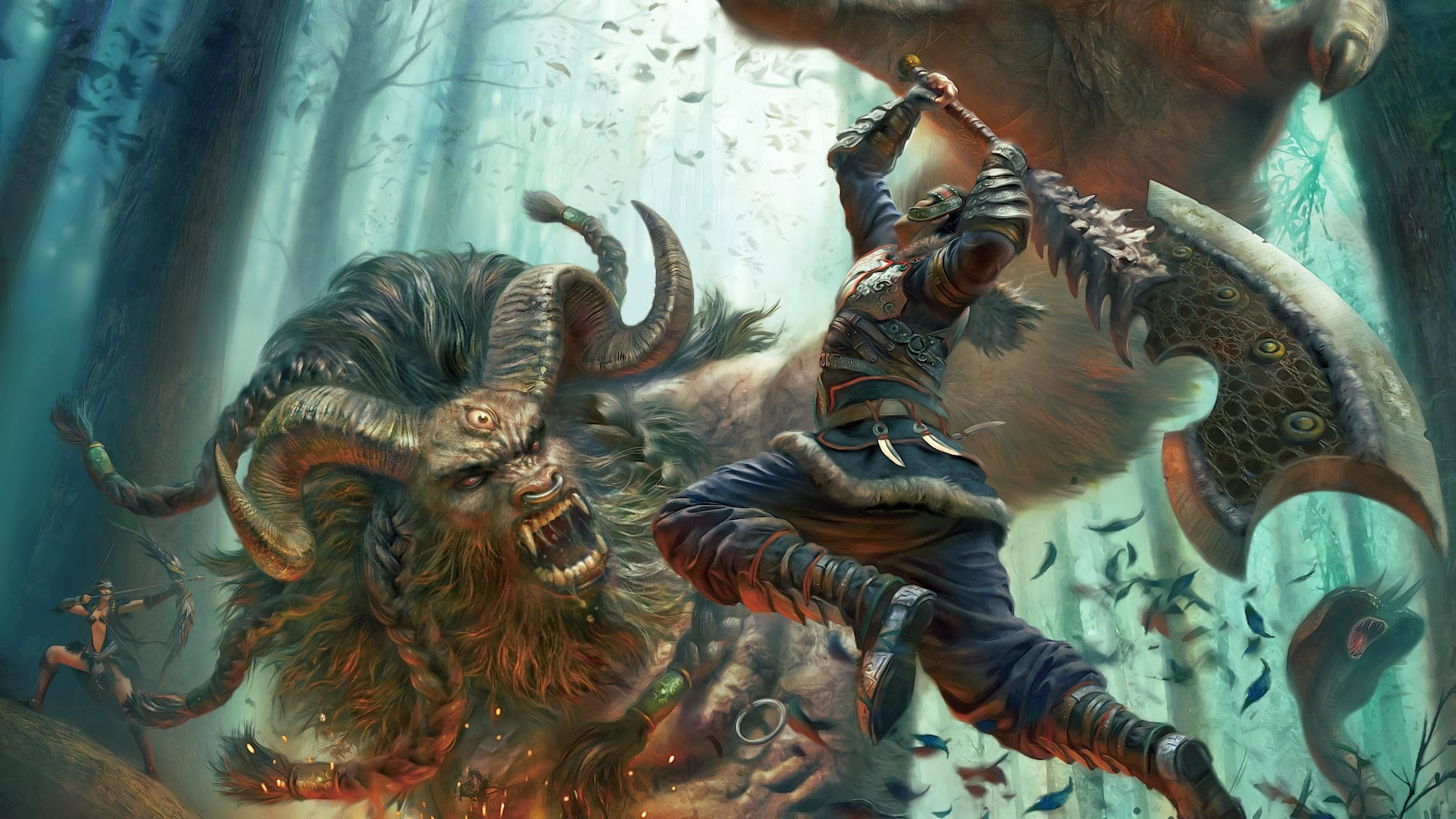 Epic Beast Warrior Fighting Wallpaper Hd Fantasy Weapon 1920x1080 A690