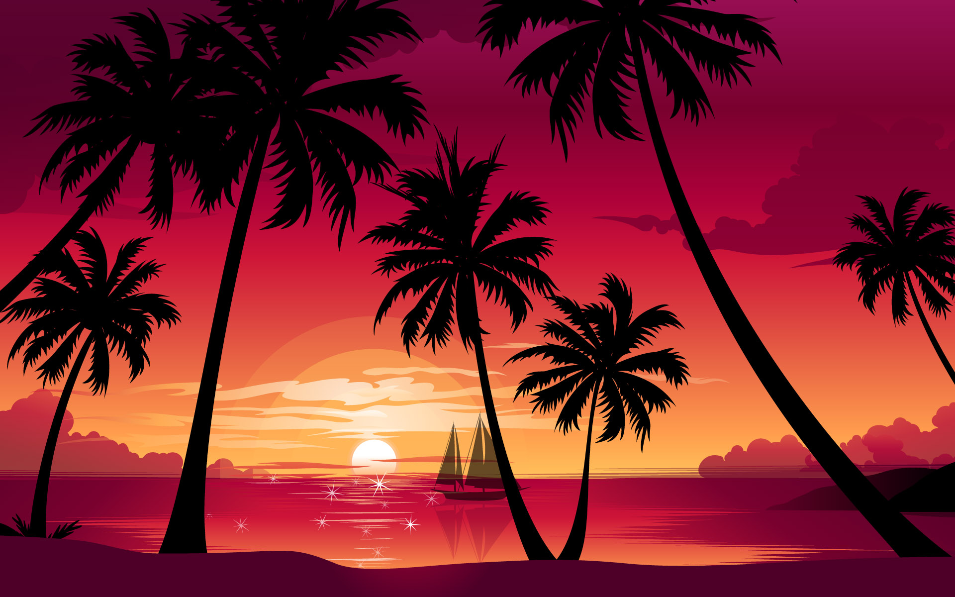 Palm Tag Wallpapers Page 5: Branch Sunset Sky Beach Summer Sea .