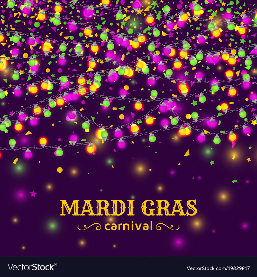 Mardi gras carnival background with light lamps Vector Image 1000x1080