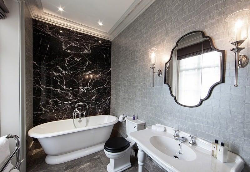 50 Silver Wallpaper For Bathroom On, Black And Silver Bathroom