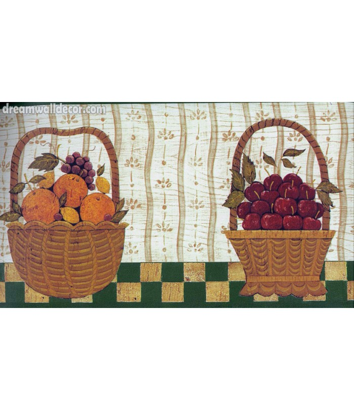 Berries Fruit Basket Wallpaper Border 700x812