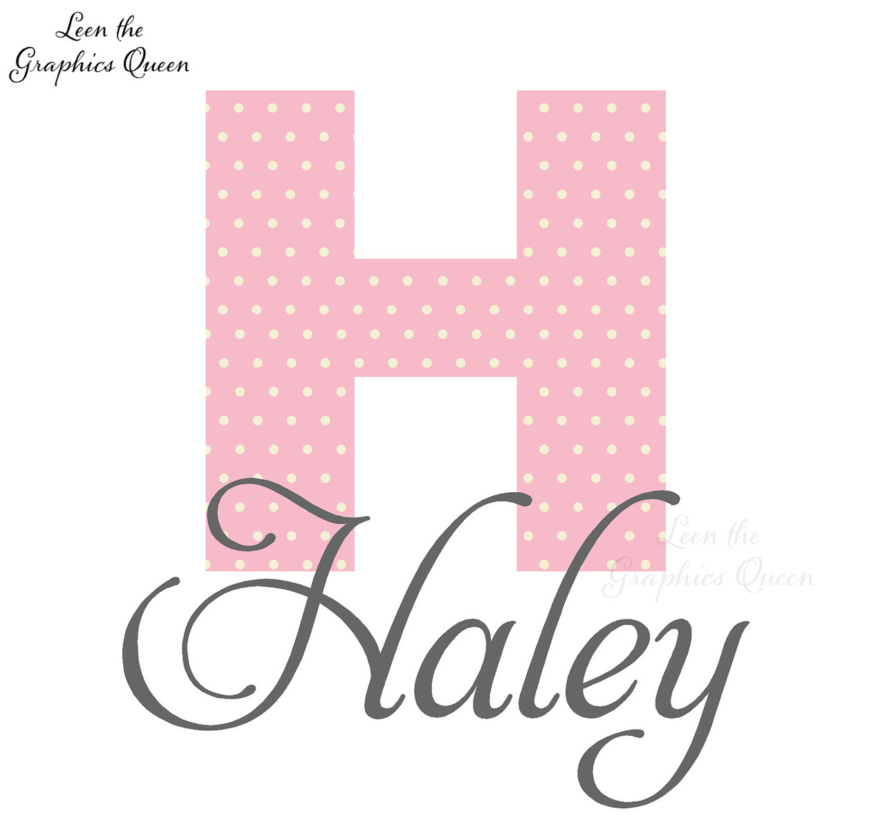 Haley Polka Dot Monogram Wall Decal 1280x1212