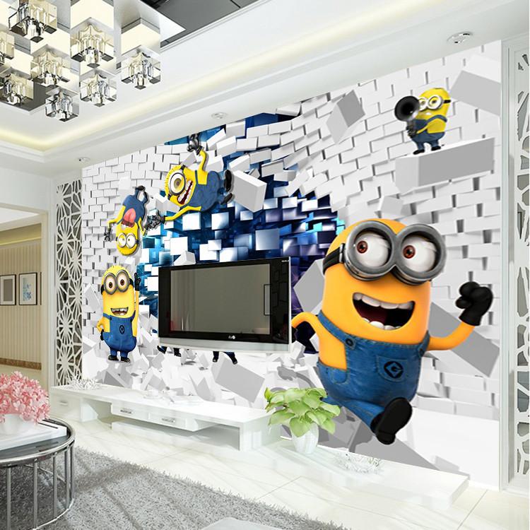Wallpaper Cartoon Despicable Me Wall Mural Silk wallpaper Boys Bedroom 750x750