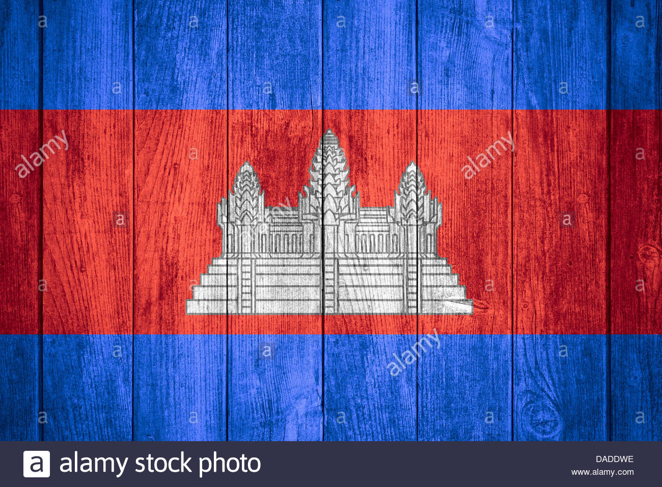 flag of Cambodia or Cambodian banner on wooden background Stock 1300x956