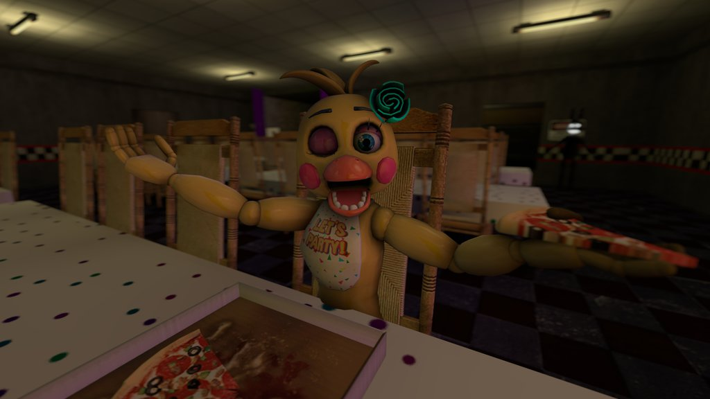 Toy Chica Eating Pizza Wallpaper by Manglethefoxfan 1024x576