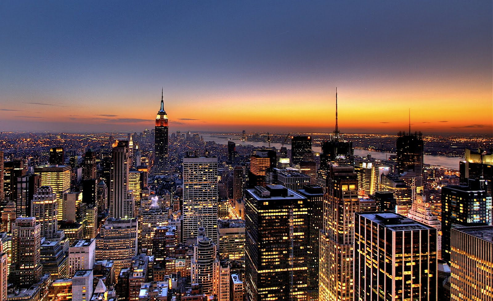 New York City Skyline   Sunset Wallpaper Hd Desktop 1600x976