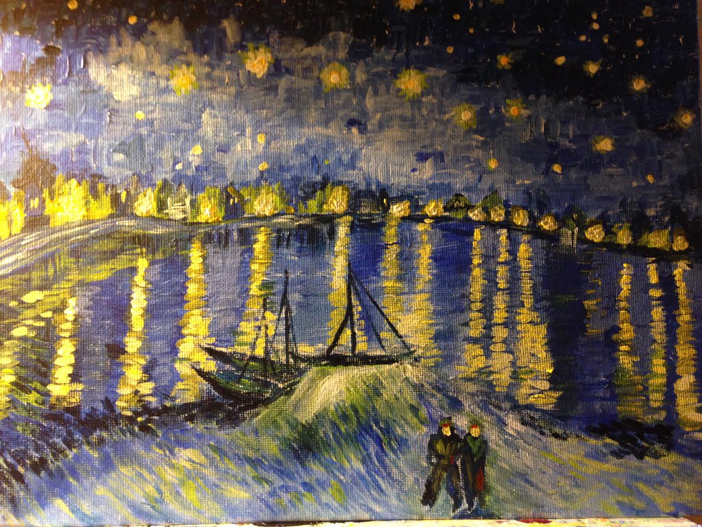 Starry night over the rhone wallpaper wallpapersafari for Starry night over the rhone hd