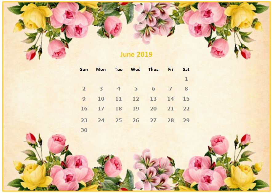 2019 Monthly Floral Calendar Wallpaper 884x629